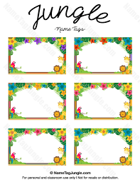 free printable jungle name tags the template can also be used for creating items like