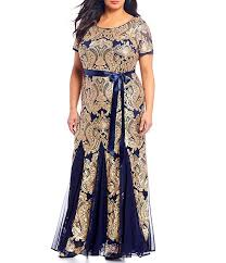 R M Richards Plus Size Embroidered Sequin Lace Short Sleeve Godet Gown