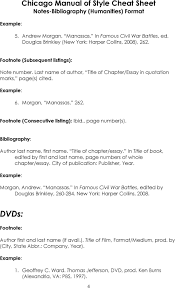Chicago Manual Of Style Cheat Sheet Notes Bibliography Humanities