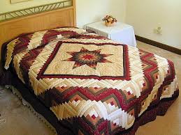 Lone Star Log Cabin Quilt -- gorgeous adeptly made Amish Quilts ... & Autumn Colors Lone Star Log Cabin Quilt Photo 1 ... Adamdwight.com