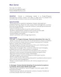 Resume Templates Manager Objective Resume Sample Technical Project
