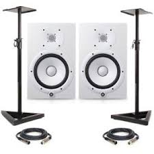 yamaha hs8 pair. yamaha hs8 - white (pair) with stands \u0026 xlr cables hs8 pair