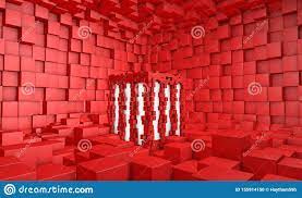 3d red cube wallpaper room stock ...
