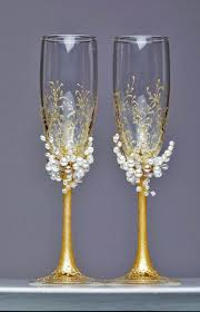 unique champagne flutes. Unique Champagne Flutes Personalized Wedding Glasses Toasting Ivory Pearl Gold