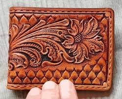 custom made tooled billfold wallet hand carved sheridan western style