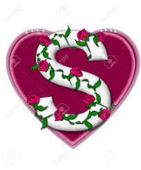 The letter S in the alphabet set Rosey Vine is a white letter with climbing roses twining around its Stock