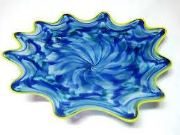 hand blown glass art platter bowl wall hanging 259 american emerald blues