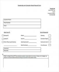 Repair Order Form Extraordinary Free Download Sample Customer Request Form At The Bottom Your Vo