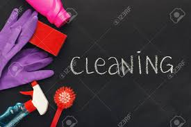 how to write a house cleaning ad house cleaning products and supplies on black chalk board background