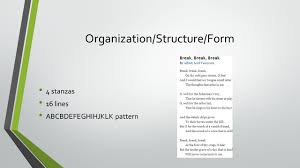 break break break by alfred lord tennyson ppt video online  3 organization structure form
