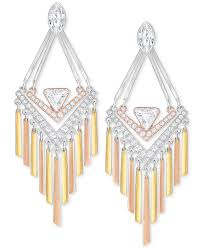 swarovski tri tone crystal chandelier earrings