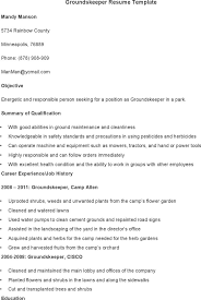 Resume Objective Sample Groundskeeper Resume Ixiplay Free Resume