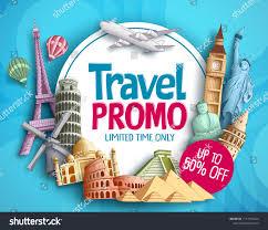 Tourism Banner Design Travel Promo Vector Banner Design Worlds Stock Vector