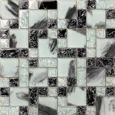 black and white hand painted glass mosaic tile for kitchen and shower cgt028