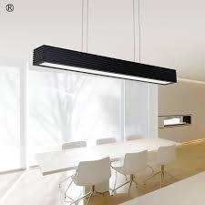 office led pendant lamp rectangular creative modern dining room light white black color 90cm 110cm led hanging lights fixture in pendant lights from lights