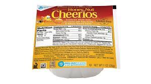 Green Mill Nutrition Chart Honey Nut Cheerios Gluten Free Cereal Single Serve Bowlpak