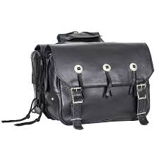black leather motorcycle saddlebags