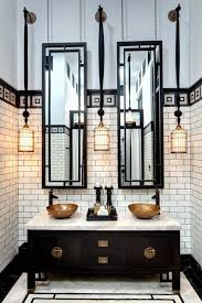 art deco bathroom. A Black Double Vanity With Dark Brass Touches And Marble Counter For 1920s Bathroom Art Deco
