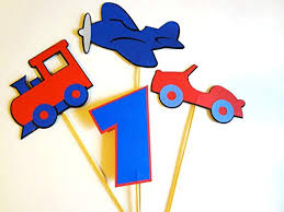 4 Piece Cake topper Centerpiece Cars Planes Trains <b>Boys Girls</b> ...