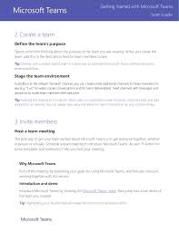 Define Team Leader Microsoft Teams Team Leader Getting Started Guide 13 Pages
