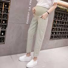 3120 9/10 Length <b>Summer Thin Linen</b> Maternity Pants <b>Elastic</b> Waist ...