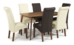 Melbourne Faux Leather Dining Chairs With Walnut Legs Free