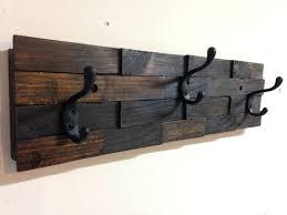 rustic wall mounted coat rack interior rustic dark walnut wood wall mount coat rack with 3 oil rubbed bronze hooks home ideas app