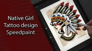 тату эскиз олдскул тату Speedpaint Procreate Traditional Tattoo Design Native Girl