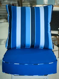 decoration custom chair cushion in canvas true blue with a cobalt welt and pillow outdoor