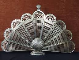 Vintage Brass Peacock Fan Sea Shell Fireplace Screen | Curiosity ...