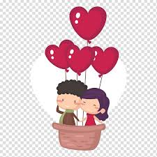 Cute Couple Png Couple On Hot Air Balloon Illustration Valentine S Day