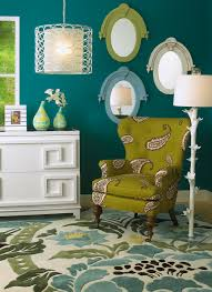 Lime Green Bedroom Furniture Dark Teal Walls Accented By Lime Green And White Jewel Like And