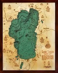 Wood Bathymetric Charts Salish Sea Bathymetric Wood Chart Lake Art Lake Tahoe