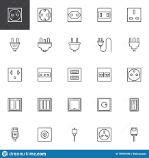 Different Light Socket Types Plug And Socket Types Outline Icons Set Stock Vector
