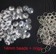 500pcs 14mm glass crystal chandelier octagon beads in 2 holes 500 pcs 12mm free rings