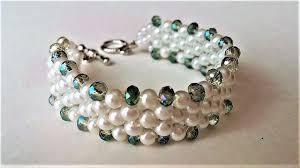 elegant evening beaded bracelet diy beaded jewelry pearls and crystal beads
