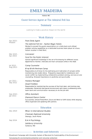 Front Desk Agent Resume samples
