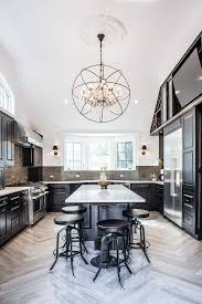 black crystal chandelier kitchen transitional with white counter stainless steel gas and electric ranges