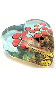 glass paperweight heart with red poppies by robert held 3 gif