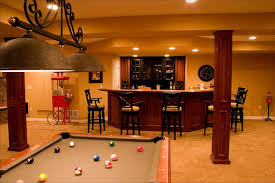 Wooden Games Room Interior Amazing Kitchen And Game Room Basement Design With Green 61