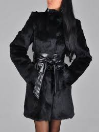 faux fur coat women black sash long sleeve winter overcoat no 3