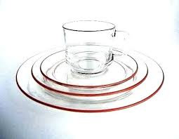 clear red glass dinnerware sets dish set vintage glassware from 4 piece modern square plates