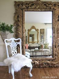 luxury leaner mirror for home accessories ideas carved wood leaner mirror with chair and wooden floor for home interior design ideas antique dresser framed leaning mirror shabby chic