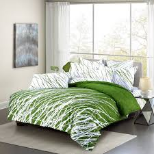 com swanson beddings tree branches 3 piece 100 cotton bedding set duvet cover and two pillow shams green white queen home kitchen