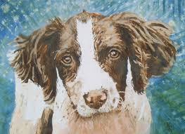 painting dog portrait painting paper water colours artist karenjane green