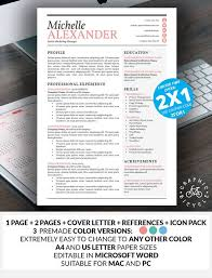 Modern Resume Template Word Custom Resume Template Feminine Design Creative Resume Template Word