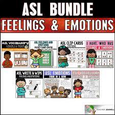 Asl American Sign Language Feelings And Emotions Bundle