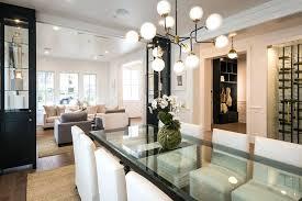 restoration hardware bistro globe chandelier contemporary dining room with chandelier hardwood floors high ceiling crown molding