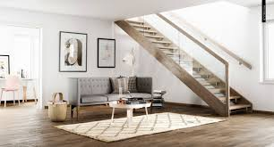 Interior, Clear Glass Stairs Balustrade Idea Feat Stylish Tufted Back Sofa  In Contemporary Scandinavian Interior