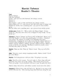 harriet tubman and underground railroad printables the  this reader s theatre is an adaption of a biography on harriet tubman i use it